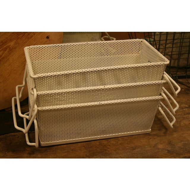Vintage French Industrial Metal Basket With Handles For Sale - Image 9 of 11