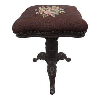 Victorian Style Piano Stool -Cast Iron Legs For Sale