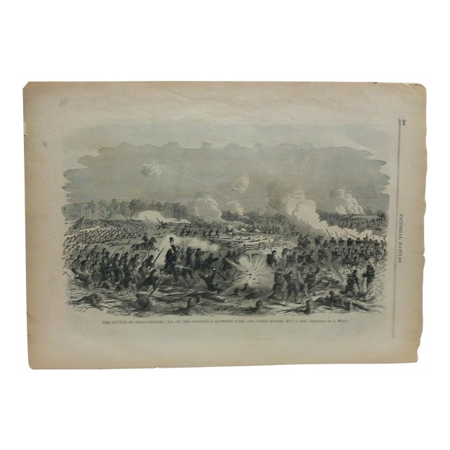 "1870s Antique ""The Battle of Williamsburg, Virginia - May 6, 1862"" Pictorial Battles of the Civil War Print For Sale"
