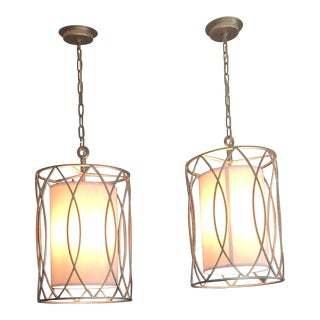 Troy Lighting Sausalito Pendant in Silver Gold - a Pair For Sale
