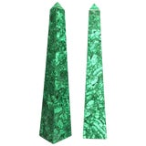 Image of Pair of Malachite Veneered Obelisk Points For Sale