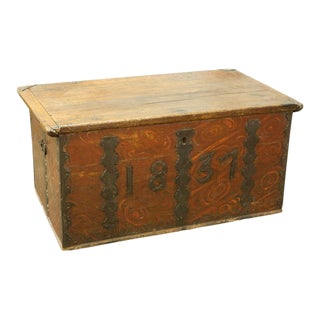 Finnish Folk Trunk with Iron Dating For Sale