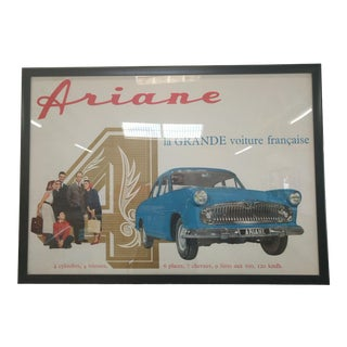 Vintage French Ariane Automobile Poster, 1960s. Perfect for the Car Enthusiast in Your Life. For Sale