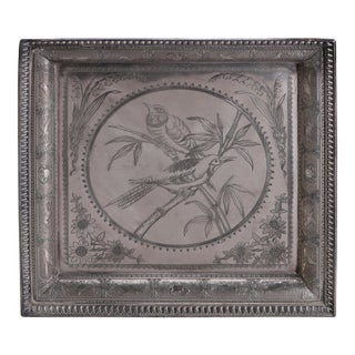 Aesthetic Movement Bird in Bamboo Silver Plate Hunt Tray, Animal Border For Sale