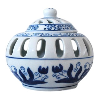 20th Century Boho Chic Blue and White Porcelain Candle Holder