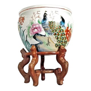 Pair of Peacock Birds on Chinese Porcelain Planter Jardinière With Wood Stand - Mid Century Asian Chinoiserie Boho Palm Beach Chic For Sale