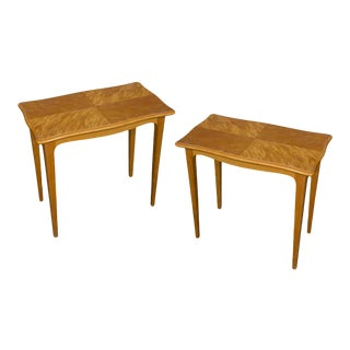 Pair of Midcentury Finnish End Tables in Blonde Wood For Sale