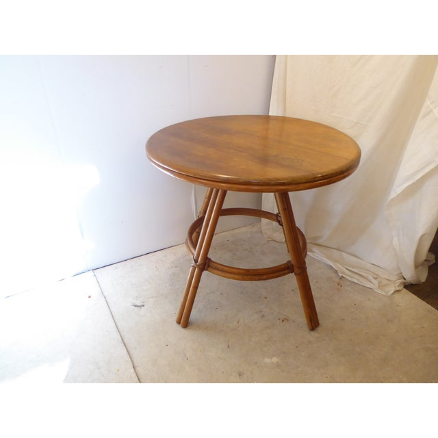 Vintage Heywood Wakefield Round Side Table For Sale In Boston - Image 6 of 6