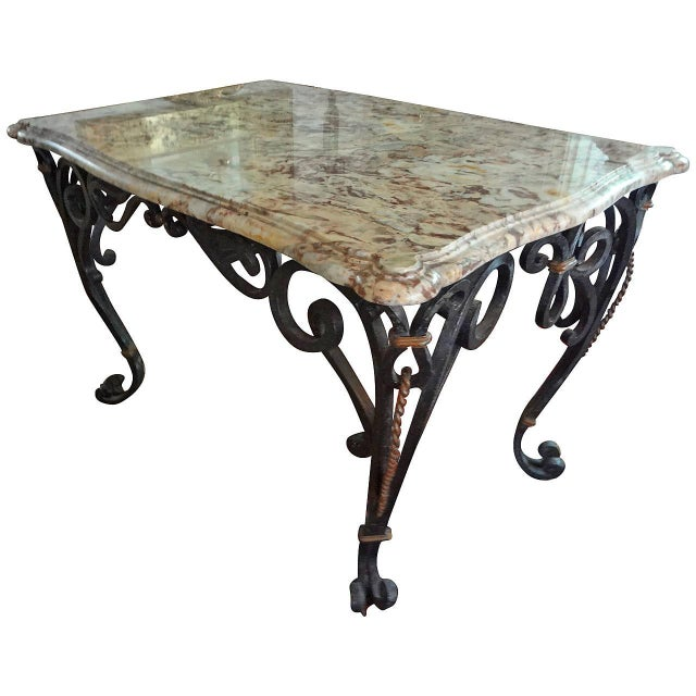 1940s French Marble Top Wrought Iron Center Table For Sale - Image 9 of 9