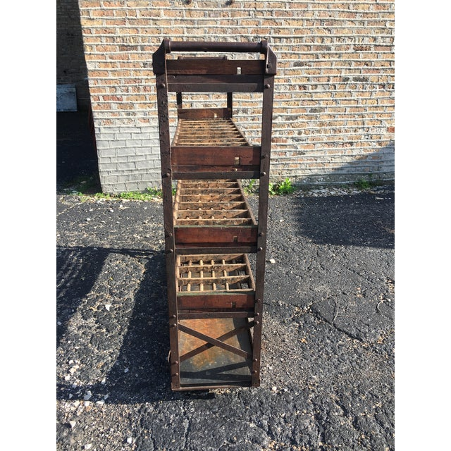 Early 20th Century Antique Industrial Rolling Cart With Shelves For Sale - Image 5 of 13