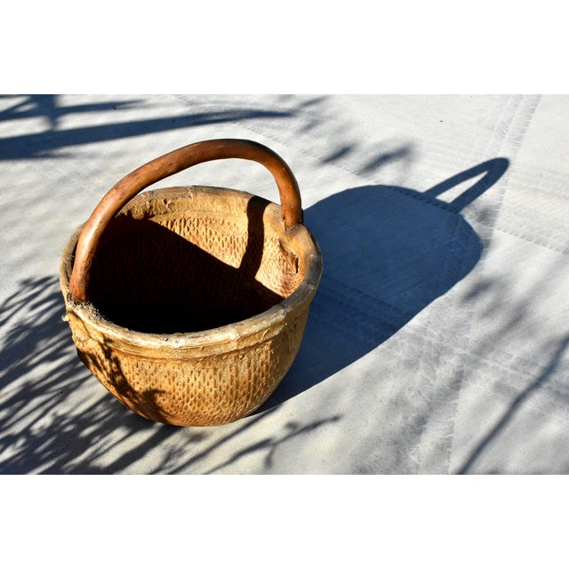 Chinese Chinese Country Willow Basket With Tree Branch Handle For Sale - Image 3 of 13