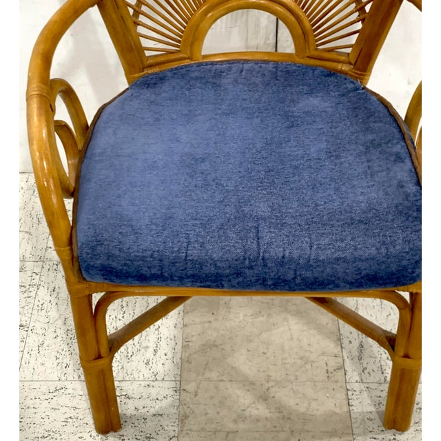 1970s 1970s Bamboo & Rattan Back 'Sunrise' Armchairs - a Pair For Sale - Image 5 of 11
