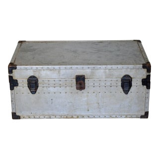 1940s Stunning Robust Polished Aluminum and Steel Trunk For Sale