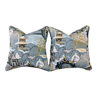 Neo Toile Cove, Robert Allen, a Pair of Pillows For Sale