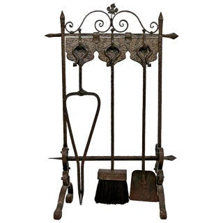French Art Deco Hand-Forged Wrought Iron Fireplace Tool Set