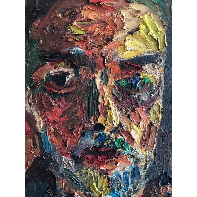 Joe Reno Textural Self Portrait Painting For Sale - Image 4 of 9