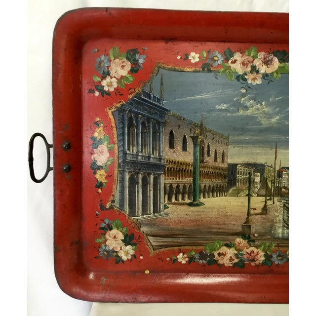 Traditional 19th Century Tole Tray Featuring a Hand Painted Italian Scene For Sale - Image 3 of 13