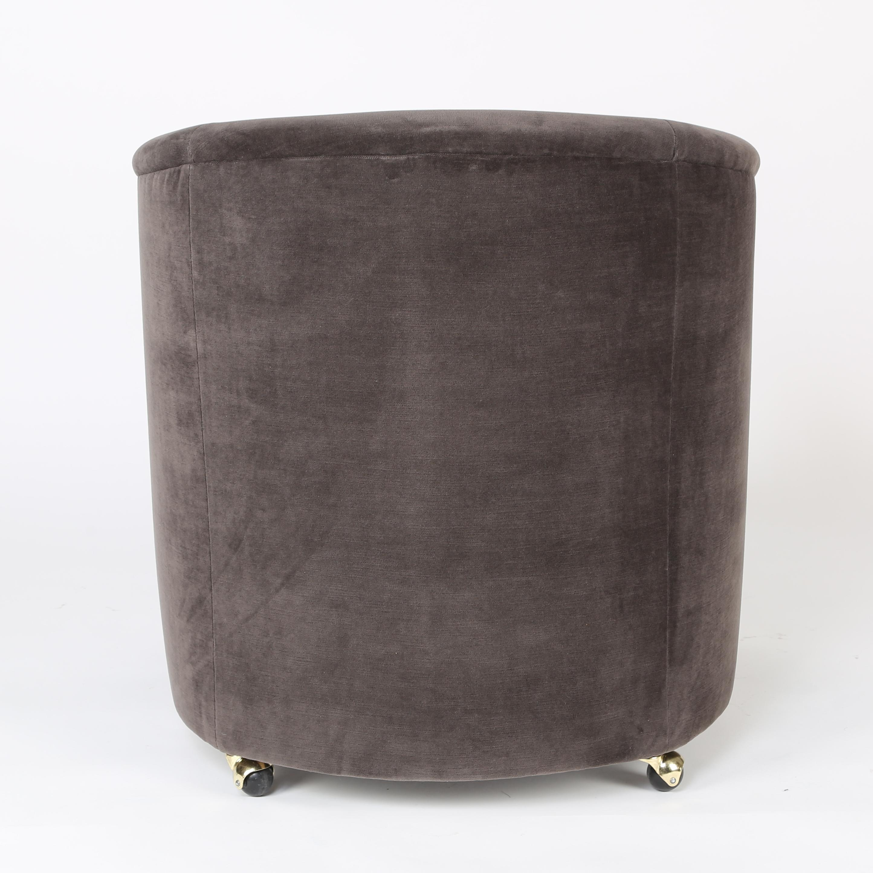 Pair Of 1970s Barrel Back Chairs On Casters   Image 5 Of 7
