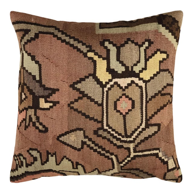 "Subdued Floral Kilim Pillow | 20"" For Sale"