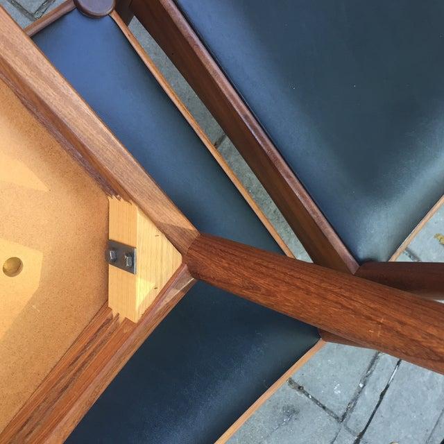 Danish Modern Teak and Black Vinyl Dining Chairs - Set of 6 - Image 10 of 11