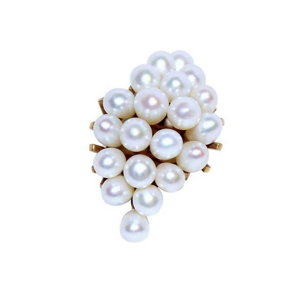 14k Pearl Cluster Cocktail Ring For Sale - Image 4 of 7