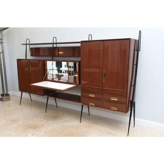 Brass Italian Modern Mahogany and Brass Bar Cabinet or Bookcase, Silvio Cavatorta For Sale - Image 7 of 10