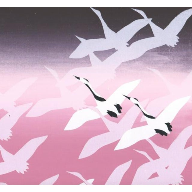 1980s flying goose tessellation silkscreen print. Unsigned.