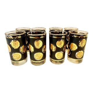 Mid-Century Libbey Gilt and Black Coin Highball Glasses - Set of 8 For Sale