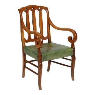 Antique Biedermeier Mahogany & Fruitwood Armchair For Sale