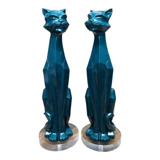 Geometric Enameled Cats - a Pair For Sale