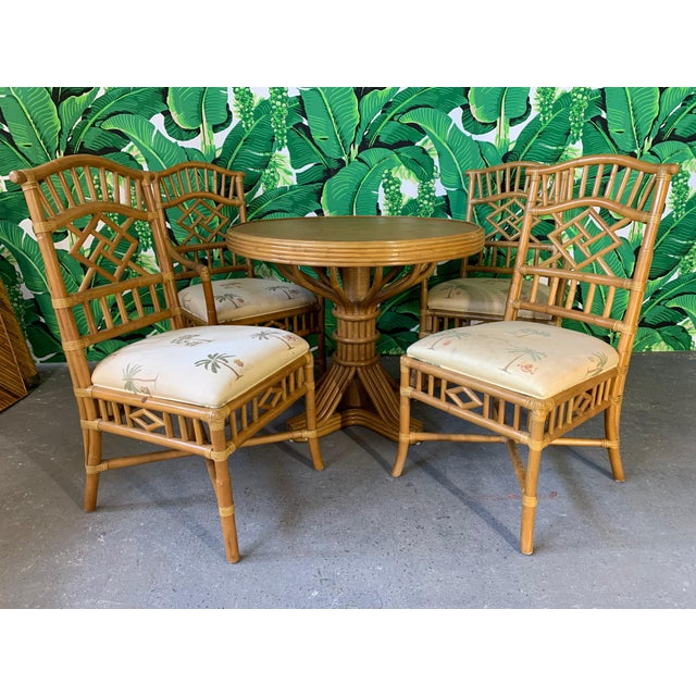 Vintage Rattan Dining Set Table and Four Chairs For Sale - Image 10 of 10