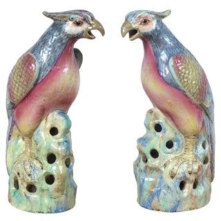 20th Century Cottage Porcelain Bird Form Figurines - a Pair For Sale