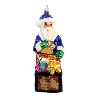 Christopher Radko Blue Santa With Chest Christmas Ornament C. 1999