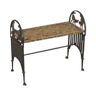 Art Deco Vintage Cast Iron Bench With Arched Fighting Cats For Sale