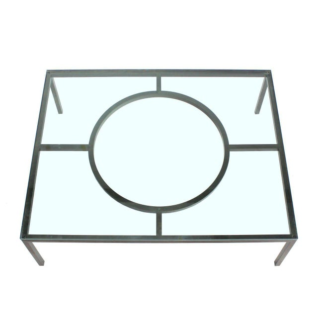 Modern Modern Rectangle Bronzed Frame Coffee Table For Sale - Image 3 of 5