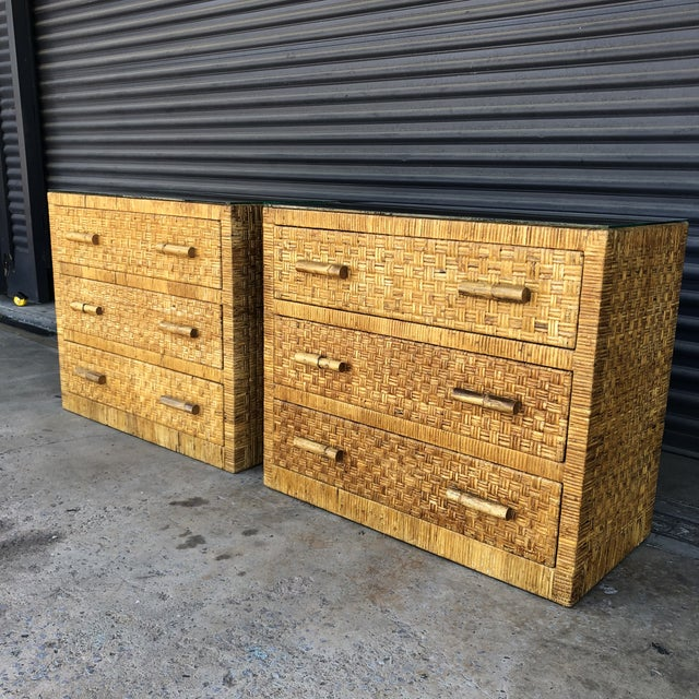 Vintage Woven Wrapped Rattan Chests- a Pair For Sale - Image 4 of 13