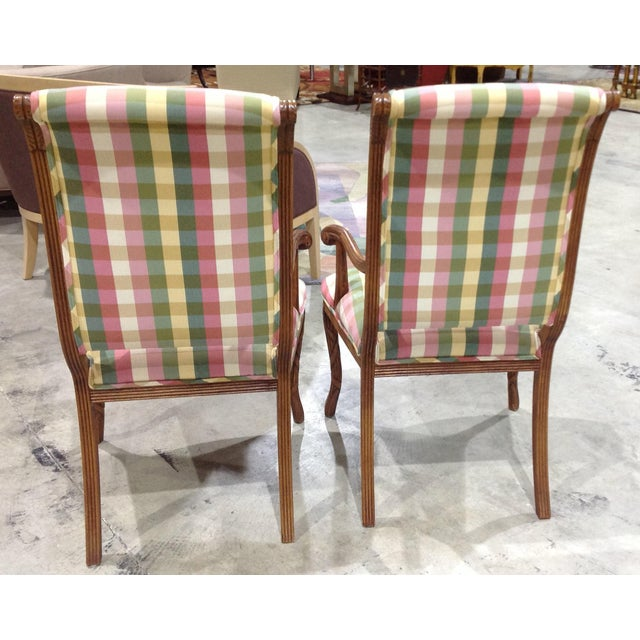 Modern French Style Arm Chair Multi Plaid Fabric - A Pair For Sale - Image 4 of 8