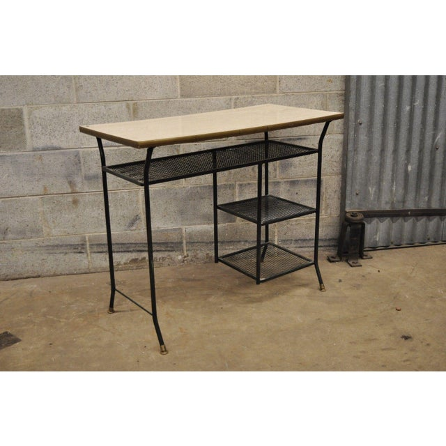 Vintage Mid-Century Modern Wrought Iron & Metal Mesh Small Writing Desk Work Table For Sale - Image 10 of 12