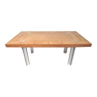 Directional Custom Collection Vintage Modern Inlaid Dining Table For Sale