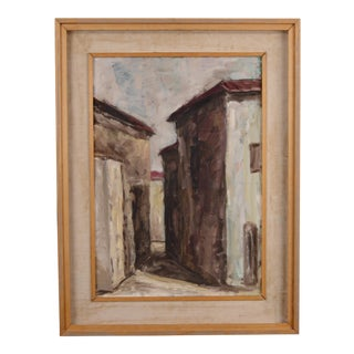 1950's Italian Abstract Painting Village Scene in Muted Colors For Sale