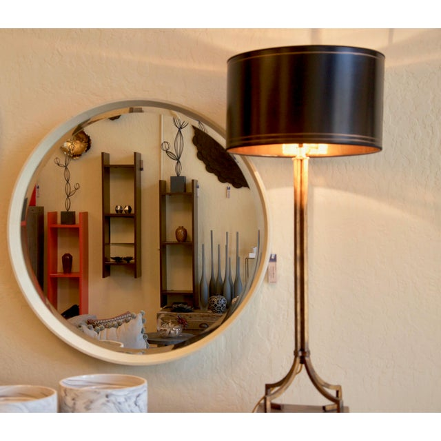 Modern Round Faux Shagreen Mirror in Cream For Sale - Image 3 of 6