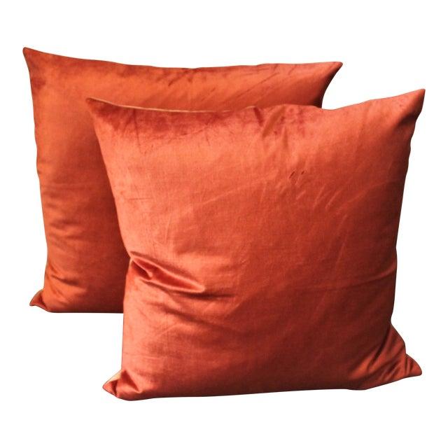 Silky Coral Velvet Pillows, Pair For Sale