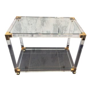 Tres Chic 1970's Lucite & Brass Rolling Table / Bar Cart
