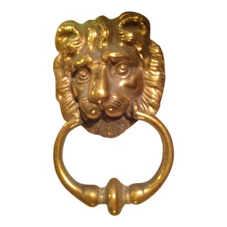 Mid 20th Century Lion Brass Door Knocker For Sale