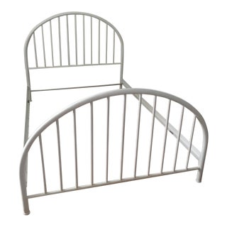 1920s Americana, White Wrought Iron Metal Tube Bedframe, Morris Bed For Sale