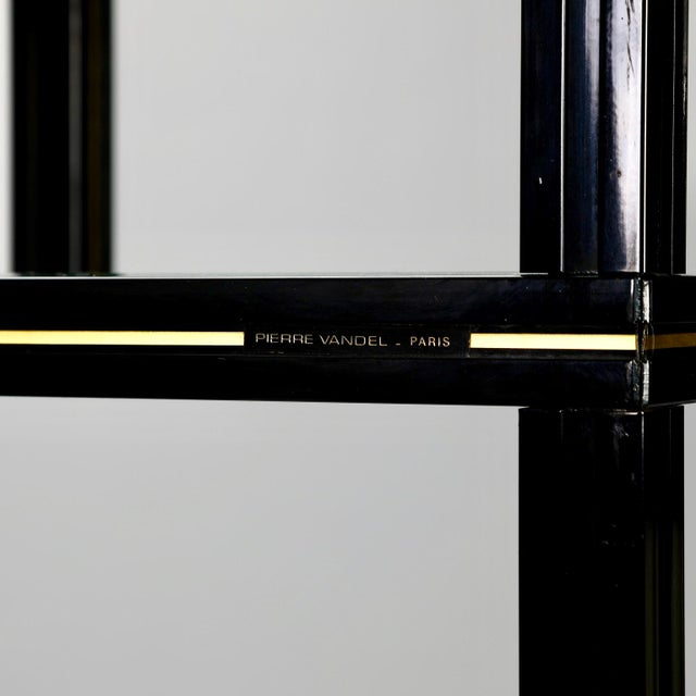 French Mid Century Pierre Vandel Black Lacquer and Brass Etagere with Glass Shelves For Sale - Image 3 of 9