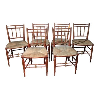 Late 19th Century Vintage Rush Seat Dining Chairs- Set of 6 For Sale
