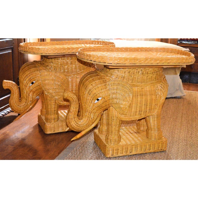 Boho Chic Wicker Rattan Elephant Tray Tables - a Pair For Sale - Image 4 of 7