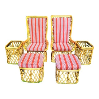 Vintage Bamboo Rattan Patio Set - 6 Pieces For Sale