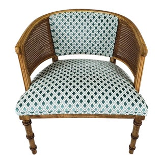 1960s Hollywood Regency Caned Barrel Chair For Sale